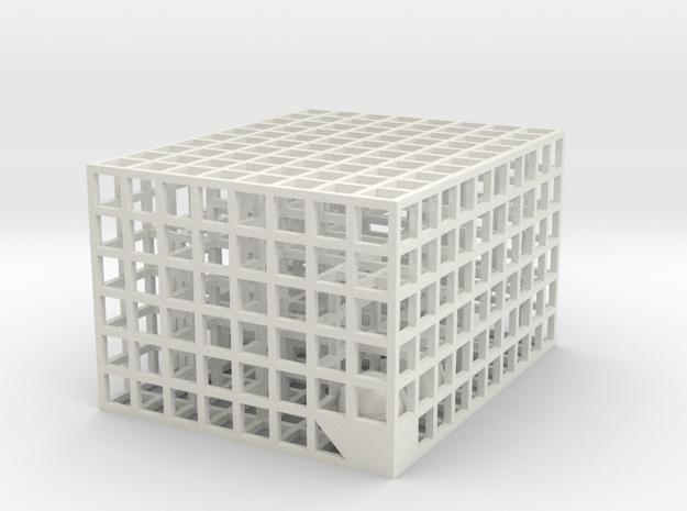 Maze 08, 5x4x3 in White Natural Versatile Plastic: Medium