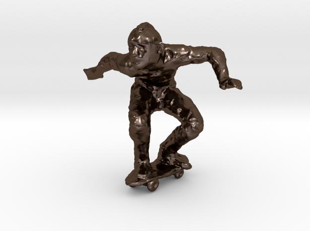 Skateboard Dude 1-50 in Polished Bronze Steel