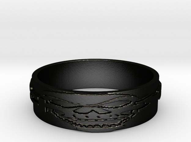 Skull Ring Size 12 in Matte Black Steel