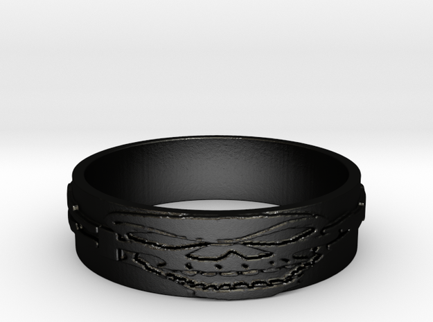 Skull Ring Size 13 in Matte Black Steel