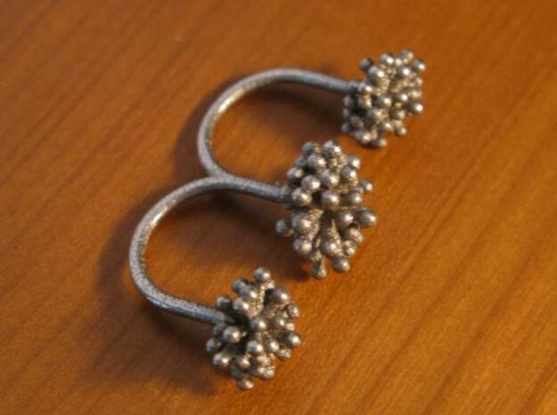 Triple Starburst Ring 3d printed steel alone