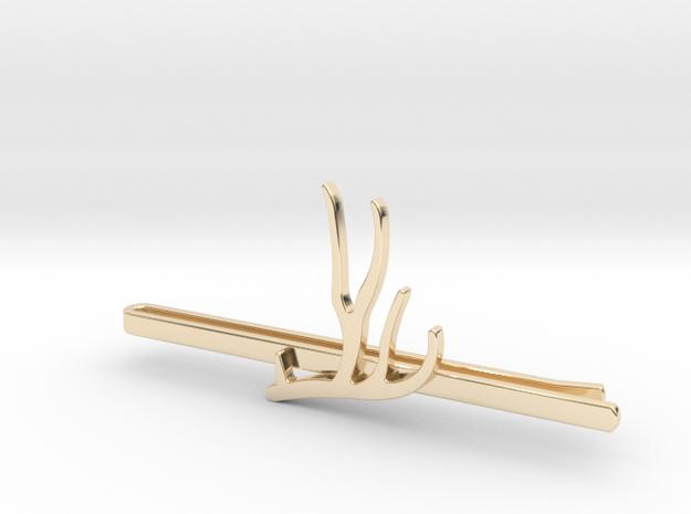 Mule Deer Antler Tie Clip in 14k Gold Plated Brass
