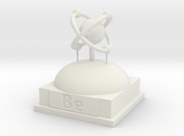 Beryllium Atomamodel in White Natural Versatile Plastic