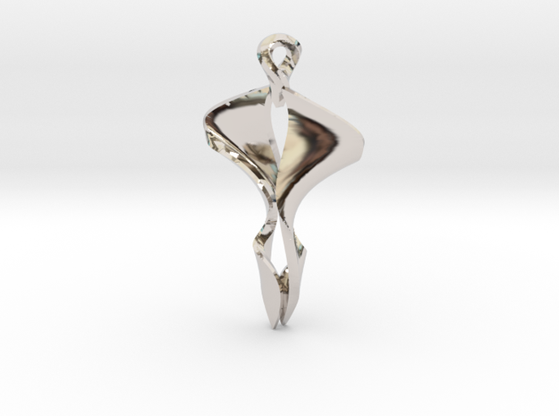 Pendant, Stylized 4 in Rhodium Plated