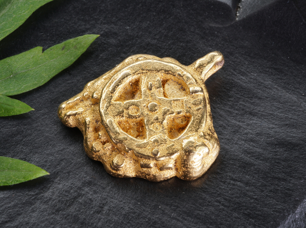 Antikythera Mechanism Amulet in Polished Gold Steel