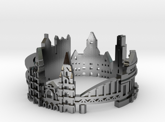 Pittsburgh Skyline - Cityscape Ring in Polished Silver: 8 / 56.75