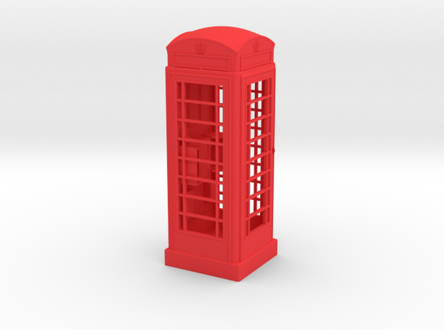 K6 Telephone Box (7.5cm) in Red Strong & Flexible Polished