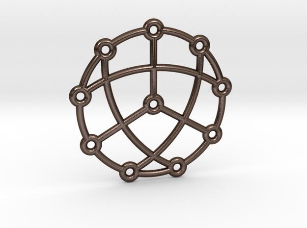 Petersen Graph Pendant in Polished Bronze Steel