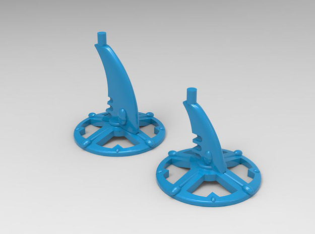 6 Bases for Eldar Cruisers and Escort Ships in Blue Processed Versatile Plastic