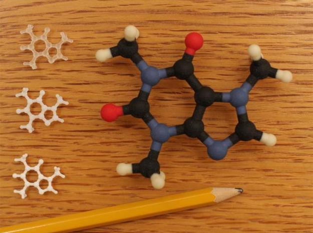 Caffeine Molecule Model Small 3d printed Next to big size version.