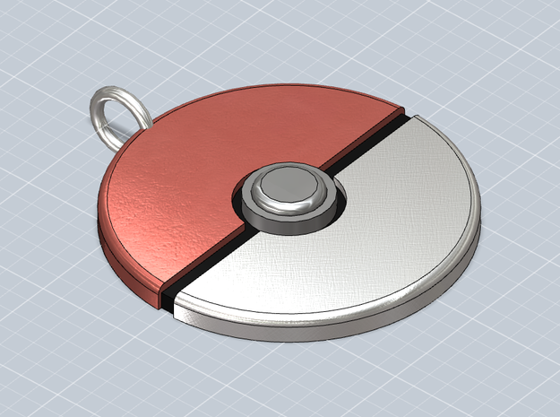 Pokeball Pendant 3d printed Perspective view