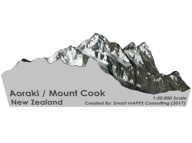 "Aoraki / Mount Cook Map, New Zealand: 6"" in Matte Full Color Sandstone"