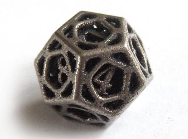 Cage Die12 in Polished Bronzed Silver Steel