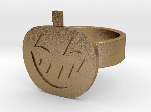 Jack-O-Lantern Ring in Polished Gold Steel: 10 / 61.5