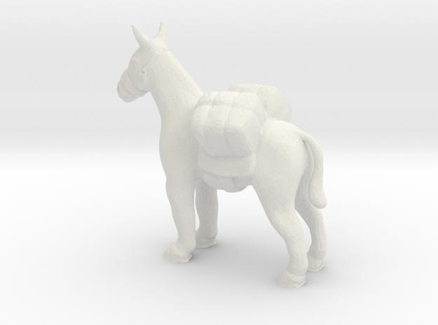 S Scale Pack Mule in White Natural Versatile Plastic