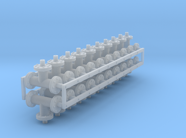 1:48 scale - 6in pipe tees - Ver3 - 20ea in Smooth Fine Detail Plastic