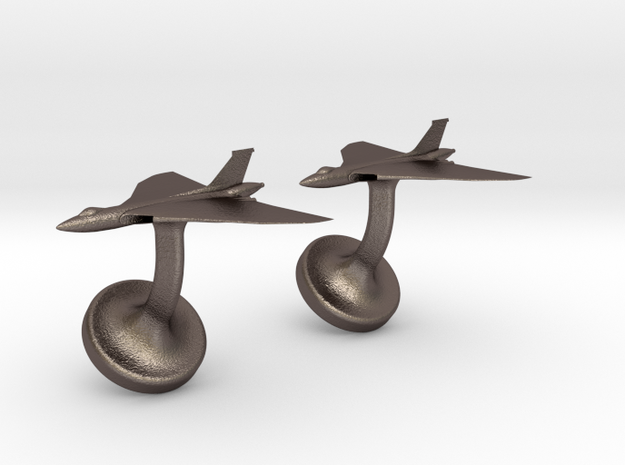 Vulcan cufflinks in Polished Bronzed Silver Steel