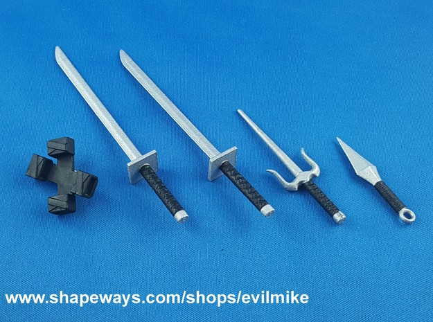 Ninja Weapons Pack 1 in White Processed Versatile Plastic