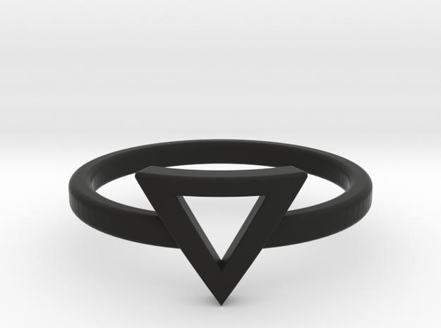 Small Offset Triangle Midi Ring in Black Natural Versatile Plastic