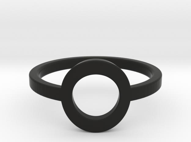 Small Offset Circle Midi Ring in Black Natural Versatile Plastic