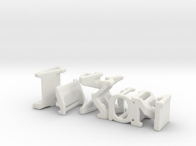 3dWordFlip: JaXon/Martin in White Natural Versatile Plastic