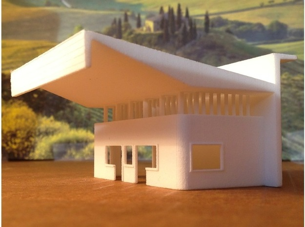 N Scale AGIP Gas Station Barletta, Italy 1954 in White Natural Versatile Plastic