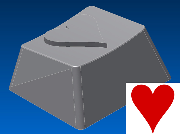 Heart Keycap (R1, 1.25x) in White Natural Versatile Plastic