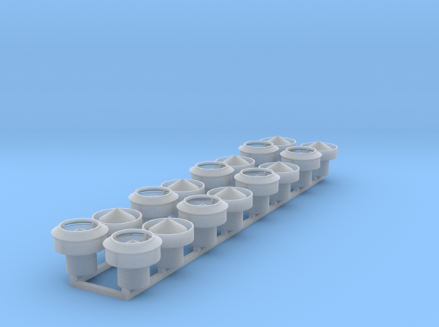 1:48 Roof Ventilators Ver2 16ea in Smooth Fine Detail Plastic