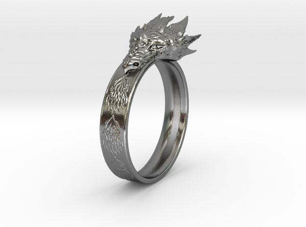 Dragon Ring (Size 8) in Polished Silver