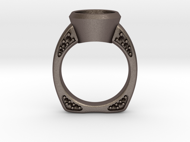 Engagement / Wedding ring RS000200002 in Polished Bronzed Silver Steel: 6 / 51.5