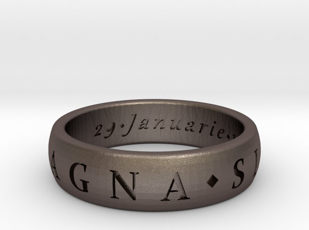 Size 10.5 Sir Francis Drake, Sic Parvis Magna Ring in Polished Bronzed Silver Steel