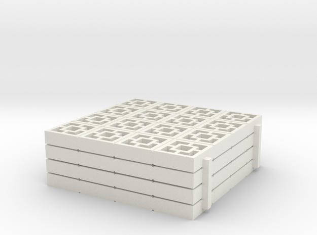 1/25 Breezeblocks A, 4x4ft panel x4 in White Strong & Flexible