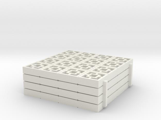 1/25 scale Breezeblocks style A, 4x4 panel x4 in White Natural Versatile Plastic