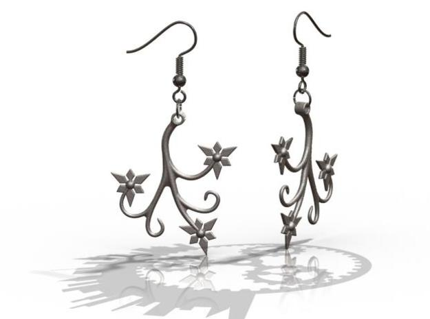 Flora Earrings - FishHooks in Polished Bronzed Silver Steel