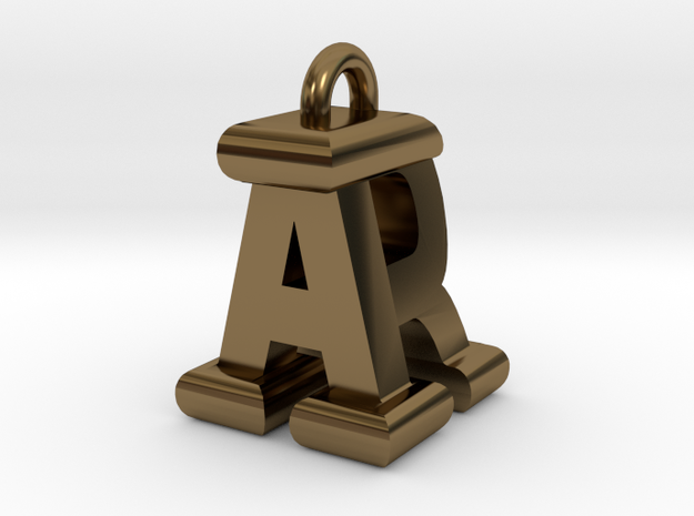 3D-Initial-AR in Polished Bronze