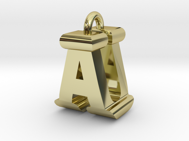 3D-Initial-AU in 18k Gold Plated Brass