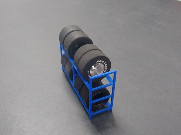 Tire Storage Rack V3 1/24 - 1/25 in Blue Strong & Flexible Polished