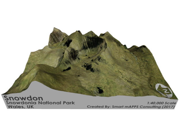 Snowdon Map, Wales in Matte Full Color Sandstone