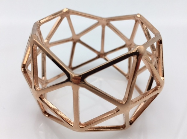 Catalan Bracelet - Pentakis Dodecahedron in 14k Rose Gold Plated: Medium