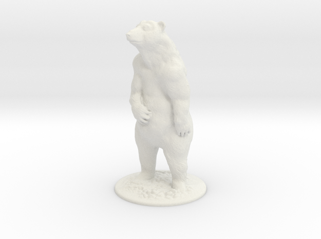 S Scale Grizzly Bear in White Natural Versatile Plastic