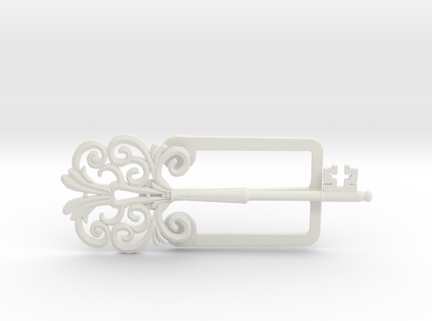 Clamp with an ancient beautiful key in White Strong & Flexible