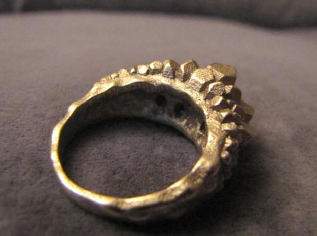 Crystal Ring size 12 in Polished Bronzed Silver Steel