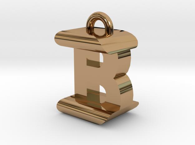 3D-Initial-BI in Polished Brass