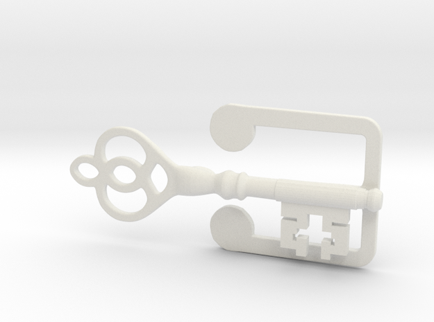 Clamp for business card  with key  in White Strong & Flexible