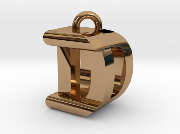 3D-Initial-DD in Polished Brass