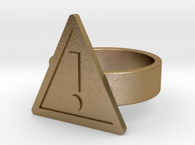 Warning Sign Ring in Polished Gold Steel: 10 / 61.5