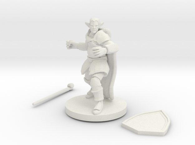 Male Elf Druid Club And Shield