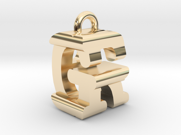 3D-Initial-GR in 14k Gold Plated Brass