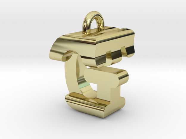 3D-Initial-GT in 18k Gold Plated Brass