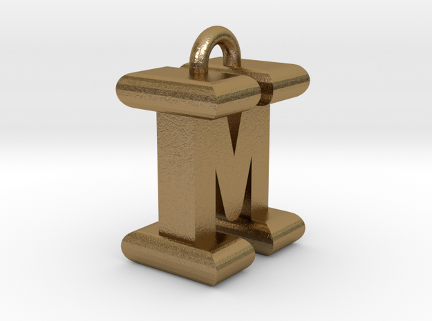 3D-Initial-IM in Polished Gold Steel